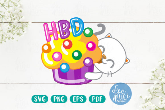 Print on Demand: HBD White Cats Graphic Illustrations By decnui.creator