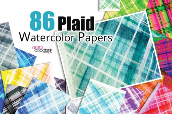 Print on Demand: Hand Painted Watercolor Plaid Paper Graphic Patterns By Digital Doodlers