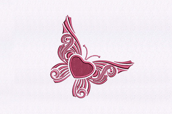 Heart Butterfly Valentinstag Stickdesign von DigitEMB