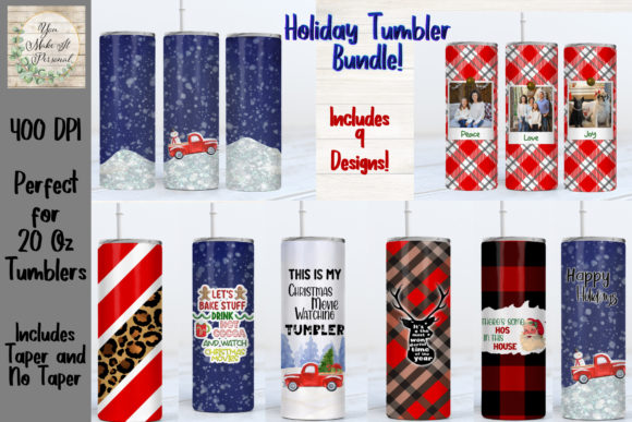 Print on Demand: Holiday Sublimation Tumbler Bundle Graphic Print Templates By You Make It Personal