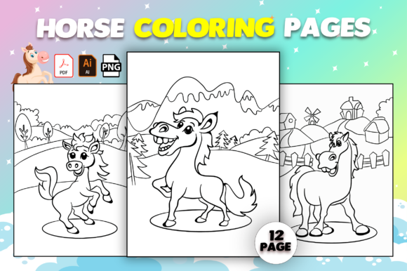 Print on Demand: Horse Coloring Pages for Kids Graphic Coloring Pages & Books Kids By MK DESIGN