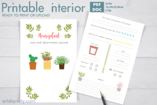 Print on Demand: Houseplant Care and Observation Journal. Graphic KDP Interiors By artsbynaty