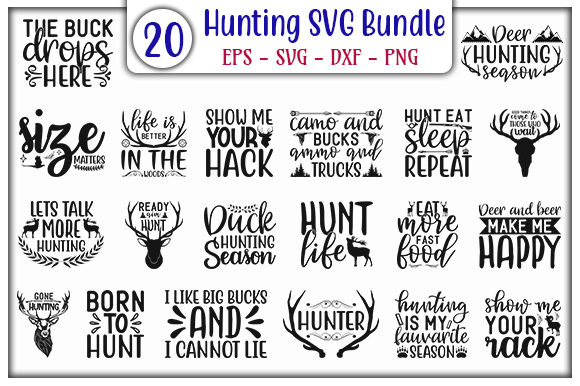 Print on Demand: Hunting Quotes Design Bundle Graphic Print Templates By GraphicsBooth