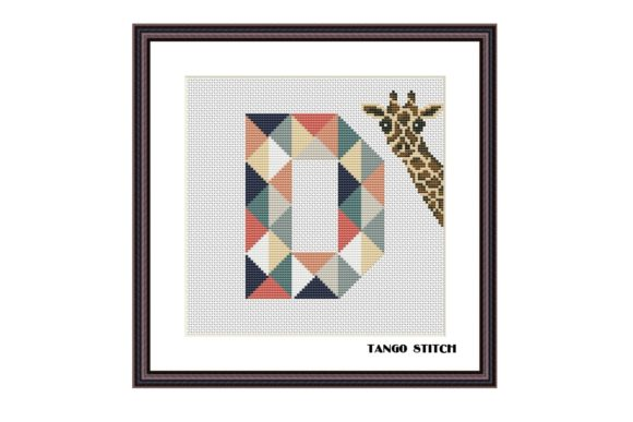 Letter D and Funny Giraffe Cross Stitch Graphic Cross Stitch Patterns By Tango Stitch