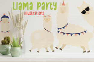 Llama Party Illustration Graphic Crafts By Firefly Designs