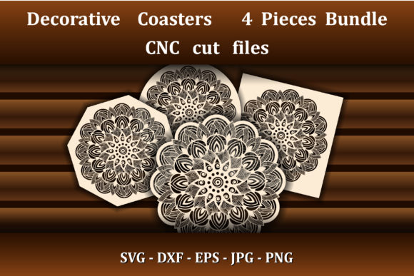 Mandala Coasters SVG for Laser CNC Cut Graphic Crafts By AmarylleArt