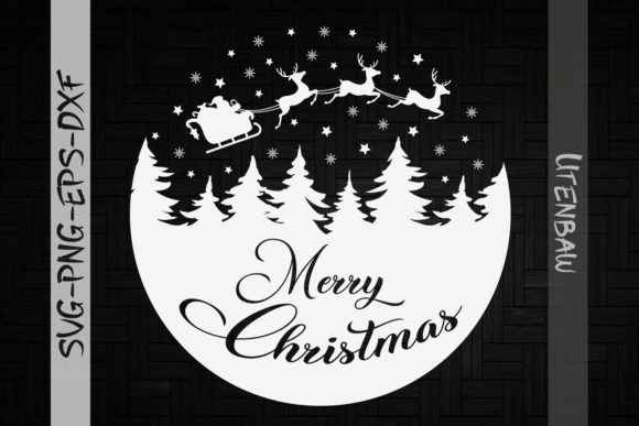 Merry Christmas Santa Sleigh Snow Ball Graphic Crafts By Utenbaw