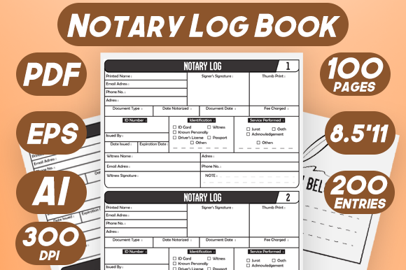 Notary Log Book Journal Records Interior Graphic KDP Interiors By Kiroz Design