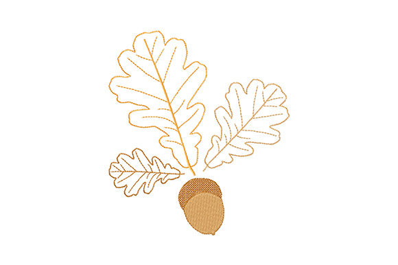 Print on Demand: Oak Leaves and Acorn Forest & Trees Embroidery Design By EmbArt