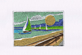 Picturesque Ships Beach & Nautical Embroidery Design By DigitEMB