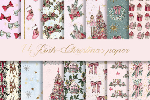 Print on Demand: Pink Christmas Digital Paper Pattern Graphic Patterns By beracaink