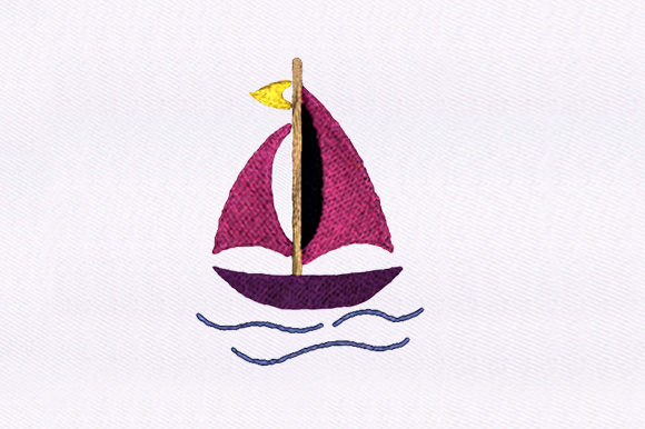 Pink Sail Boat Beach & Nautical Embroidery Design By DigitEMB
