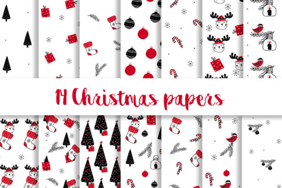Print on Demand: Red and Black Christmas Digital Paper Graphic Patterns By beracaink