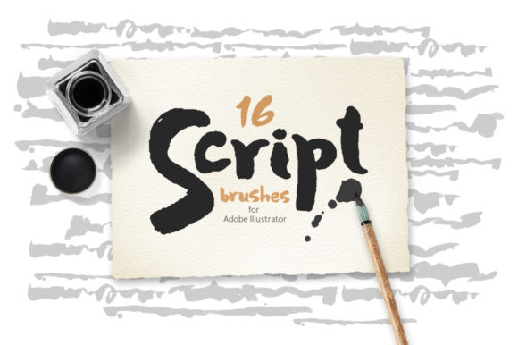 Script Brushes for Illustrator Graphic Brushes By Mazheika Store