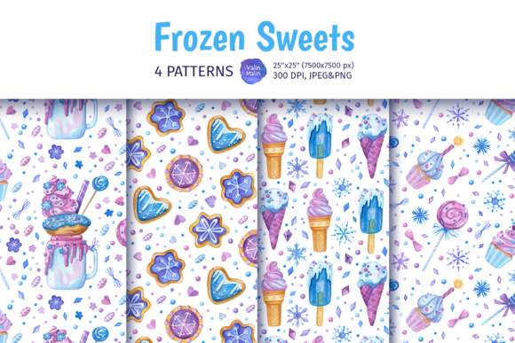 Print on Demand: Seamless Patterns with Sweets, Bakery Graphic Patterns By ValinMalin