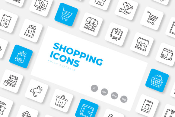 Print on Demand: Shopping Icon Set Outline Graphic Icons By upnowgraphic