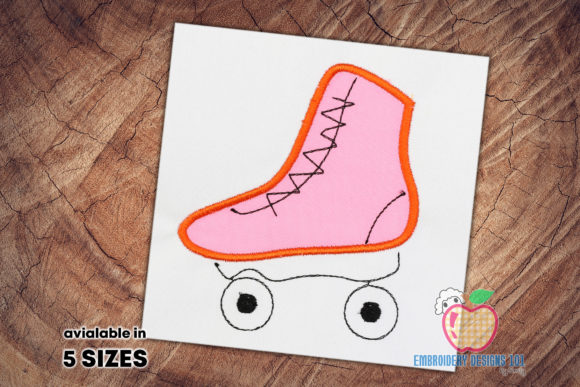 Skating Shoes in Vintage Style Applique Sports Embroidery Design By embroiderydesigns101