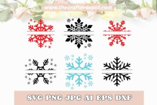 Snowflake Monogram SVG DXF PNG JPG Graphic Print Templates By TheCrafterDepot
