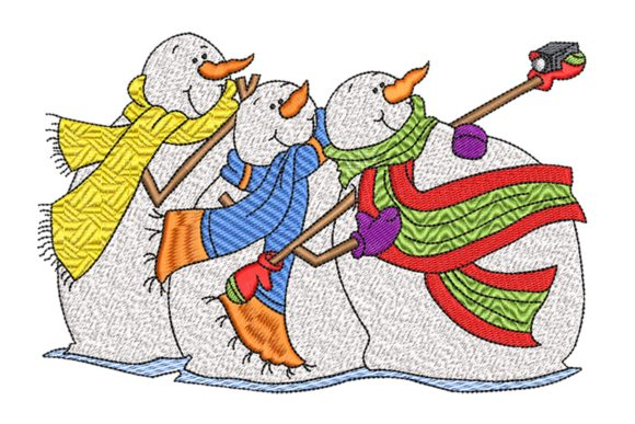 Snowmen Selfie Christmas Embroidery Design By BabyNucci Embroidery Designs