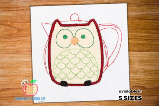 Teapot Made with the Owl on It Applique Tea & Coffee Embroidery Design By embroiderydesigns101