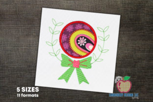 The Bow Made Near the Empty Circle Kleidung Stickdesign von embroiderydesigns101