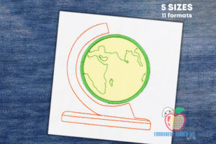 The Globe of World in Old Style Applique School & Education Embroidery Design By embroiderydesigns101