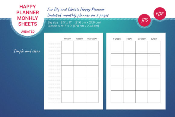 Undated Monthly Planner Graphic Print Templates By Lynxsun