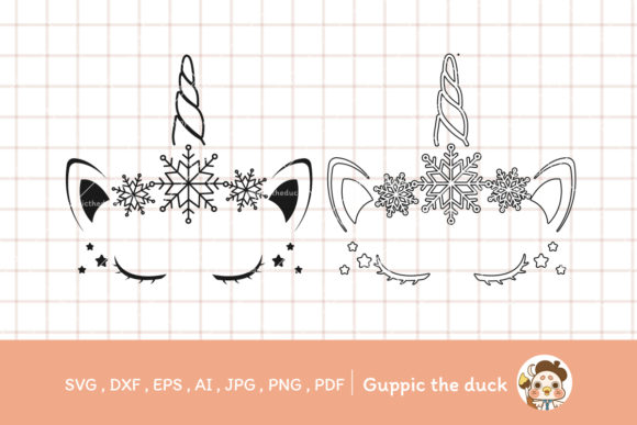 Unicorn Snowflake Svg and Clipart Graphic Illustrations By Guppic the duck