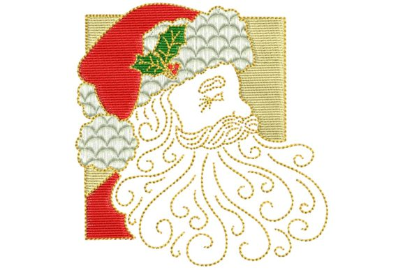 Vintage Santa Face Christmas Embroidery Design By BabyNucci Embroidery Designs