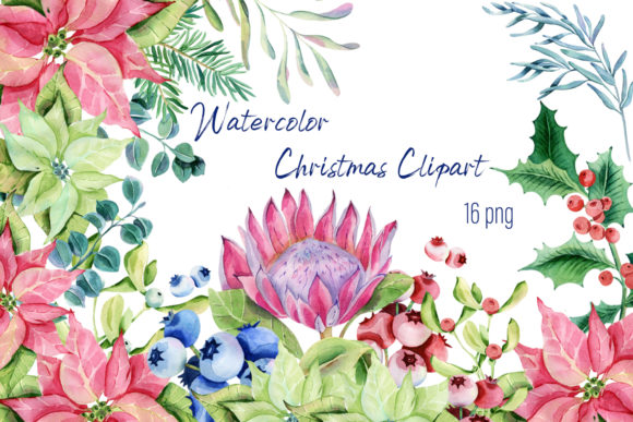 Print on Demand: Watercolor ChristmasPlants Clipart Graphic Illustrations By ElenaZlataArt