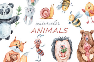 Print on Demand: Watercolor Cute Forest Animals Clipart Graphic Illustrations By Tiana Geo