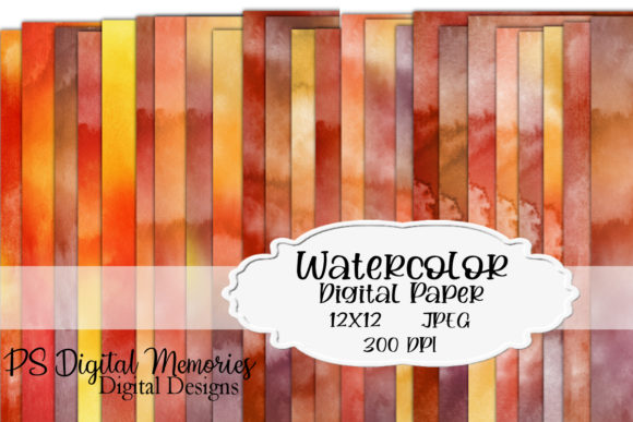 Watercolor Digital Paper Colors of Fall Graphic Backgrounds By PS Digital Memories