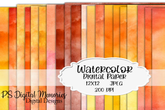 Watercolor Digital Paper Orange Shades Graphic Backgrounds By PS Digital Memories