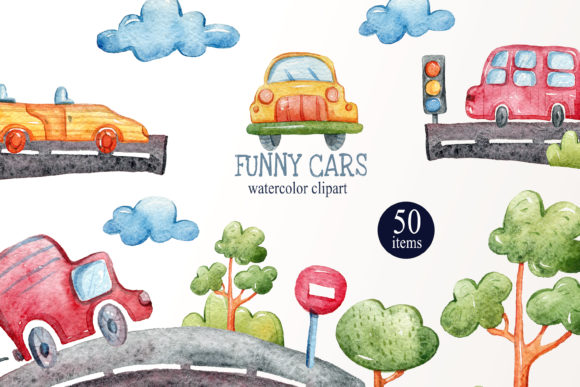 Print on Demand: Watercolor Funny Cars Clipart Collection Graphic Illustrations By Tiana Geo