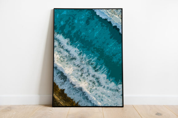 Print on Demand: Wave Beach Landscape View Watercolor Graphic Illustrations By Silenic.co