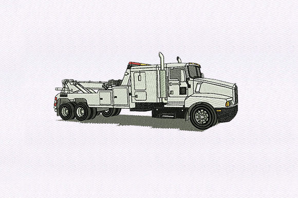 White Truck Transportation Embroidery Design By DigitEMB