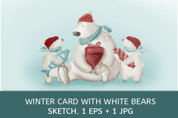 Winter Card with White Bears Graphic Illustrations By kazakova_o