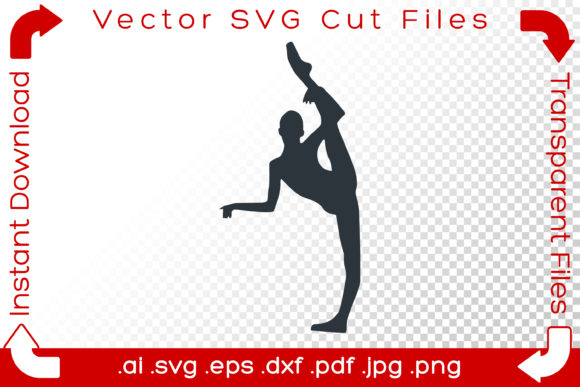 Print on Demand: Woman Acrobat Gymnast Silhouette Graphic Crafts By iBearToo