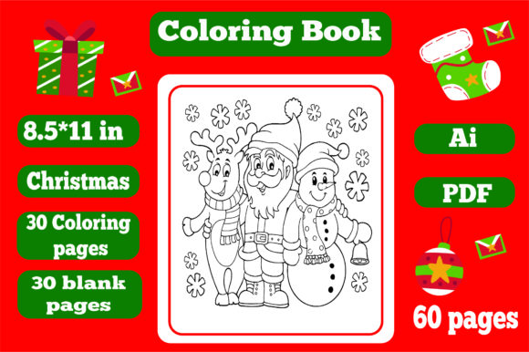 Print on Demand:  Christmas Coloring Book for Kids 1 -kdp Graphic Coloring Pages & Books Kids By KDP_Interior_101