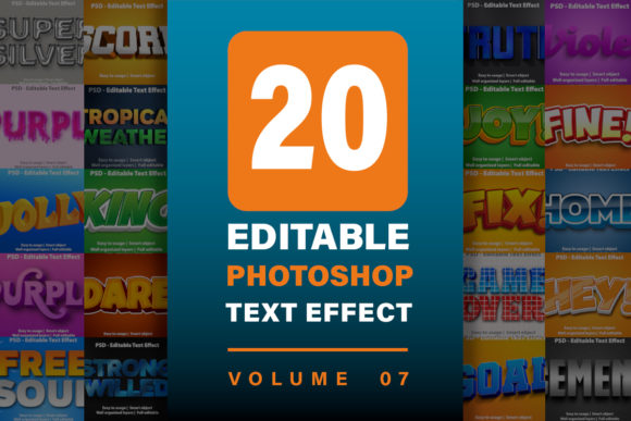 20 Photoshop Text Effect Bundle - Vol 7  von yosiduck