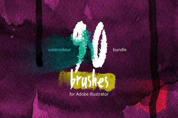 90 Watercolor Brushes Bundle Graphic Brushes By Mazheika Store