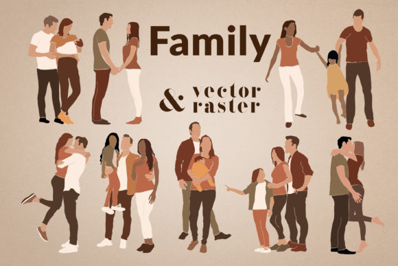 Print on Demand: Abstract Family Clipart Graphic Illustrations By northseastudio