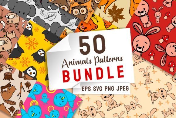 Print on Demand: Animals Patterns Bundle Grafik Muster von Universtock