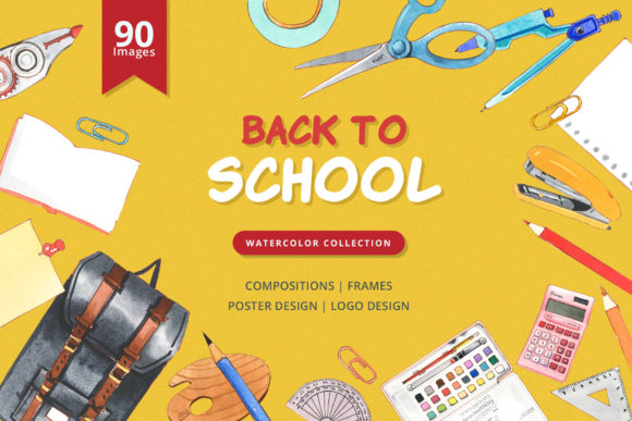 Back to School Watercolor Graphic Illustrations By WatercolorEps