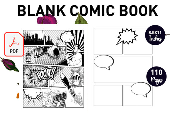 Print on Demand: Blank Comic Book for Kids Graphic KDP Interiors By Gurus Kdp Templates