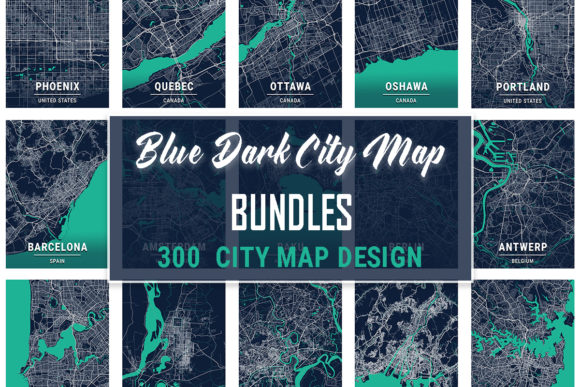Print on Demand: Blue Dark City Map Bundle  von tienstencil