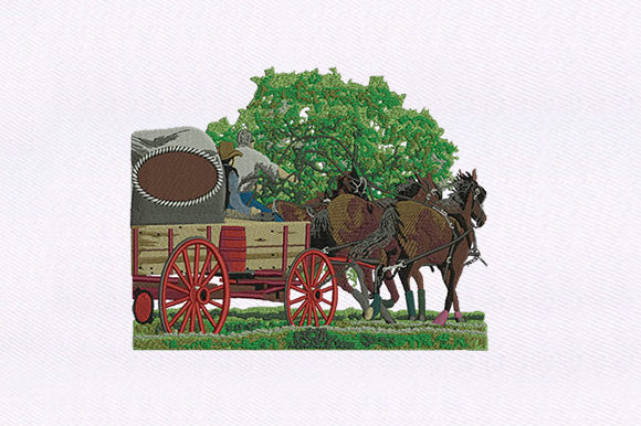 Carriage & Cowboys Transportation Embroidery Design By DigitEMB