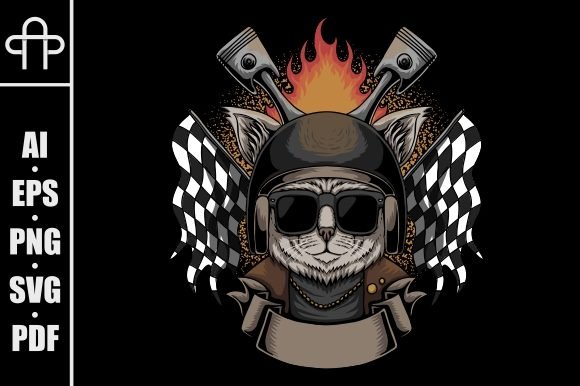 Print on Demand: Cat Helmet Motorcycle Grafik Illustrationen von Andypp