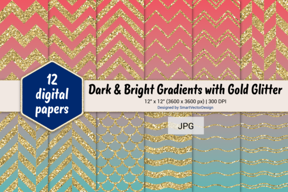 Print on Demand: Chevron, Scales, & Waves - Gradients #51 Graphic Backgrounds By SmartVectorDesign