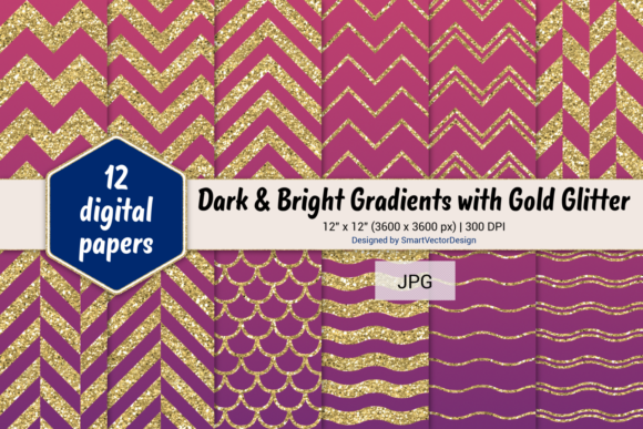 Print on Demand: Chevron, Scales, & Waves - Gradients #55 Graphic Backgrounds By SmartVectorDesign